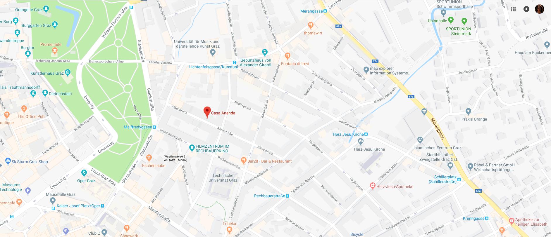 Kartenausschnitt: Zu Bioresonanz Trikobin Behandlungen Birgit Deutsch in Graz